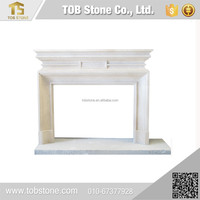 China manufacture yellow marble indoor fireplace