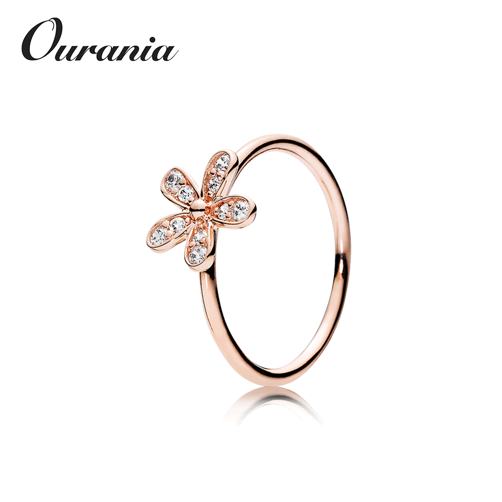 Hotsale Modern Fashion Ladies Sterling Silver Rings with Daisy and CZ