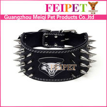 Luxury Large Spiked Dog Collar With Wolf Head Print