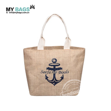 Customized Promotional Large Sequined Striped Jute Tote Bag with logo print