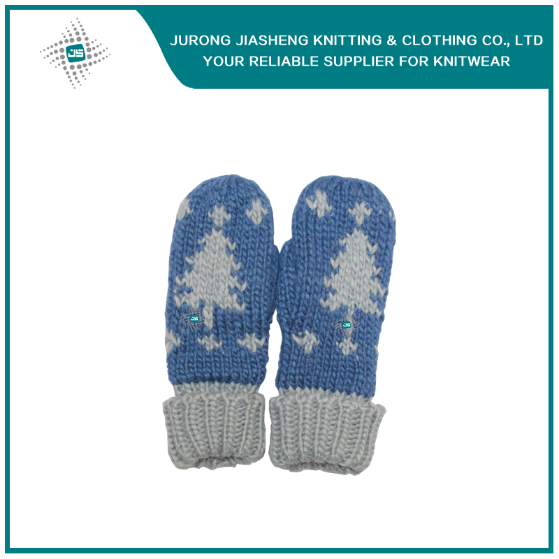 Long Jacquard Fingerless Women Hand Warmer Mittens