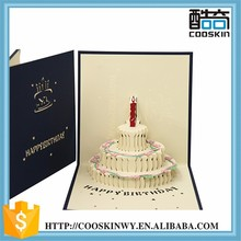 Proper price top quality birthday cake 3d pop up greeting card