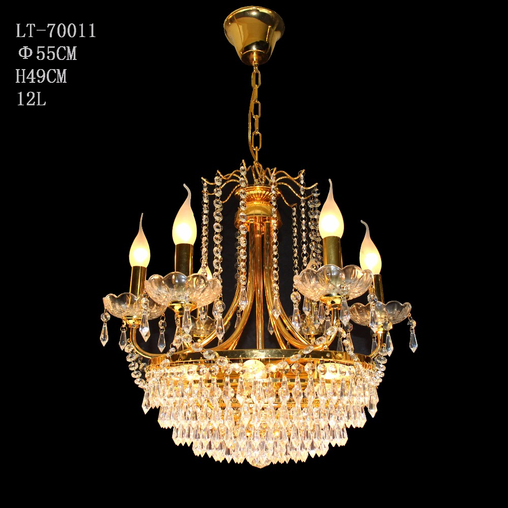 cheap traditional vintage LED gold candle chandelier with glass lamp shade SK-70011