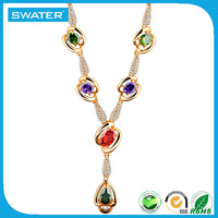 Aliexpress Wholesale Colorful Crystal Gold Design Nepal Necklace Jewelry