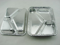 3-compartment Take away Aluminium Foil Food Containers meal trays, strong and sparkling , with lids