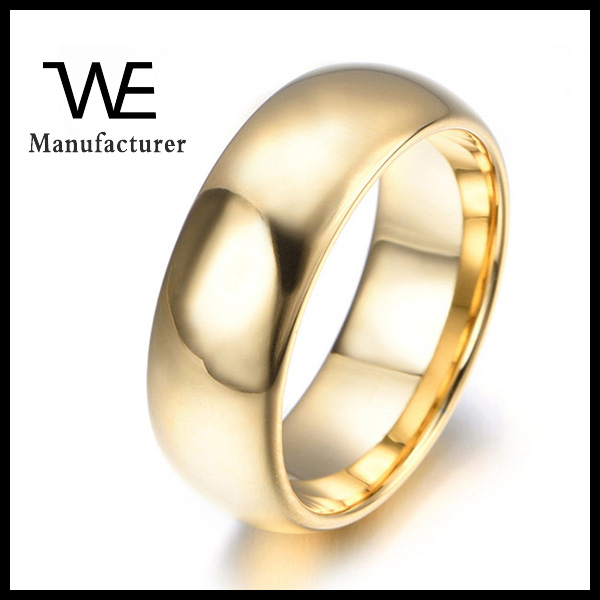 Tungsten Steel Solid Gold Plating 24k Gold Plated Ring Women