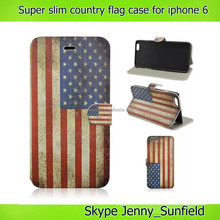 super slim country flag flip leather case for iphone 6 plus 4.7 , for iphone 6 leather case flag, for iphone 6 case flip leather