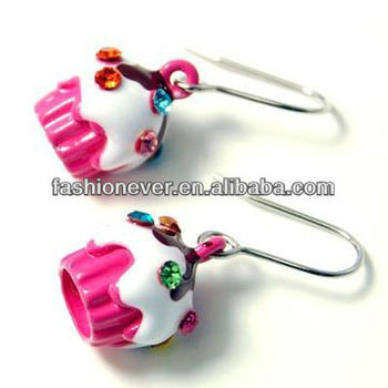 Hot Pink Cupcake Birthday Charm Dangle Earrings Fashion Jewelry