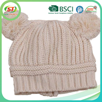 Custom free knit beanies pattern for hat earflaps with two balls for men