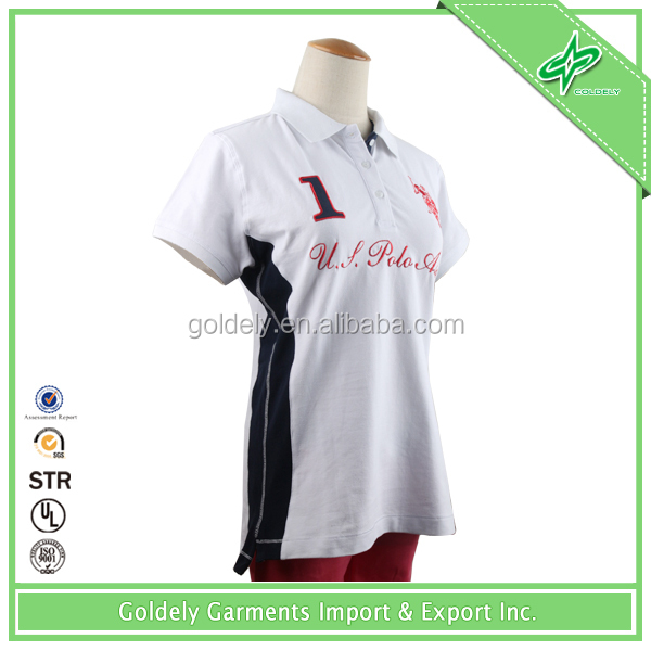 Two color printed design women polo shirt design with combination