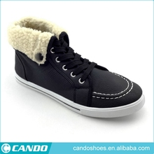 latest fashion folding high neck black PU leather man shoe