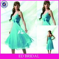A Line V Neck Spaghetti Straps Ruched Bust Bow Tea Length Mother of the Bride Dresses Plus Size