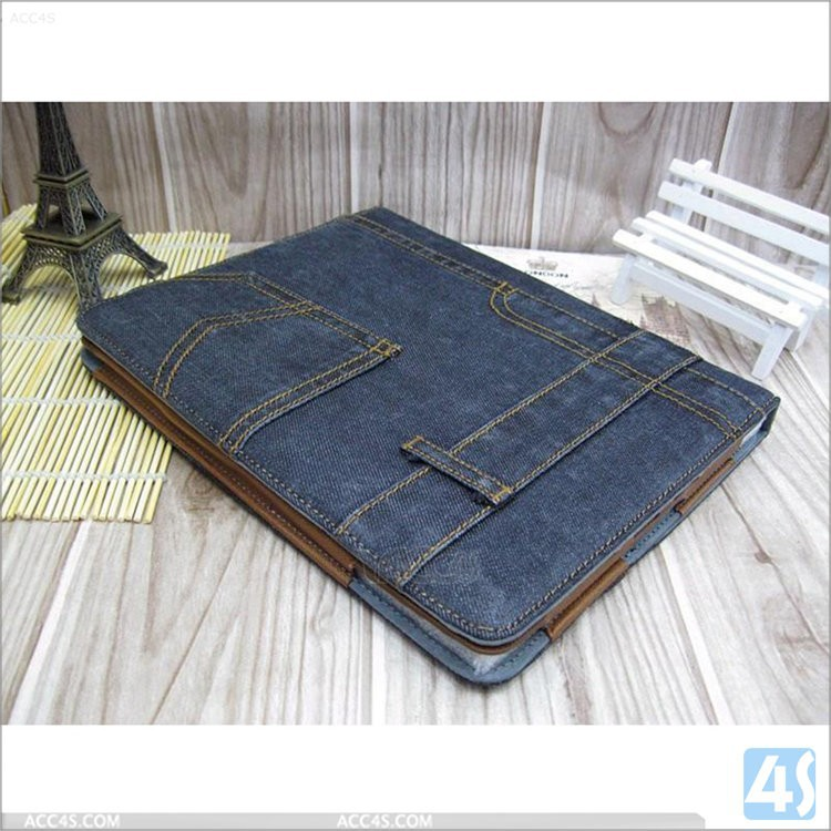 jeans cloth designed flip leather talet sleeve cases for ipad 2/3/4 with card pocket