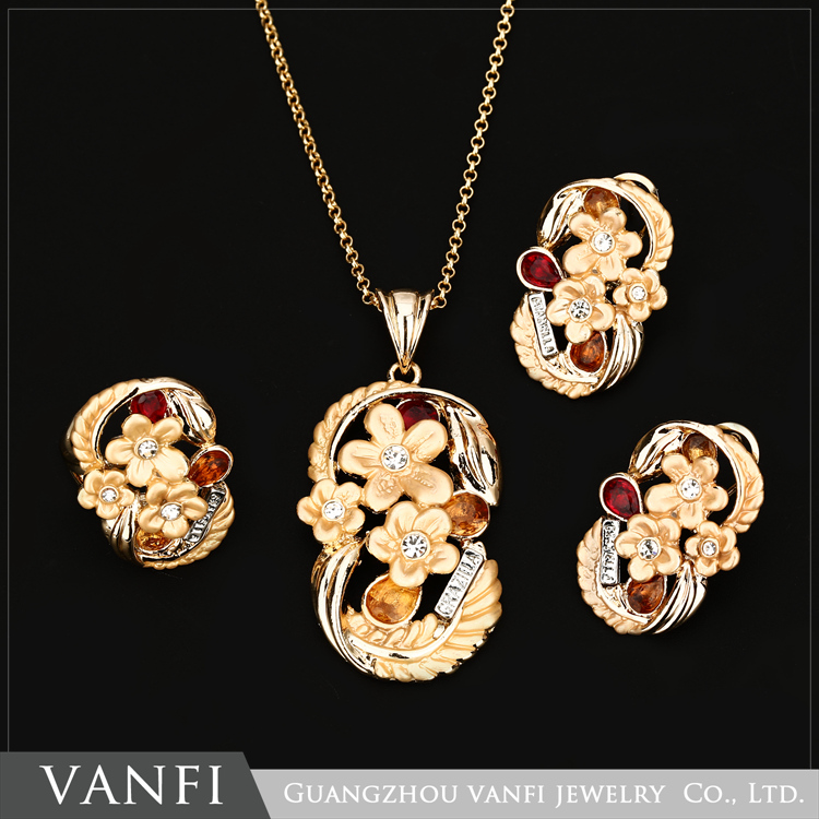 flower design 2016 wholesale african costume jewelry set ,gold plating big costume jewlery sets