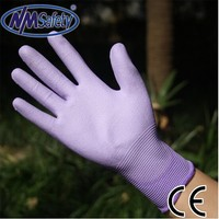 NMSAFETY 2105 new product 13 gauge ladies winter cheap purple pu coated nylon gloves
