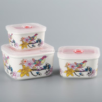 chaozhou birds pattern ceramic tableware bowl set, bento box Microwave safe