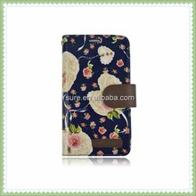 super quality pretty floral flower wallet leather case for iphone 5 with 3 card slots