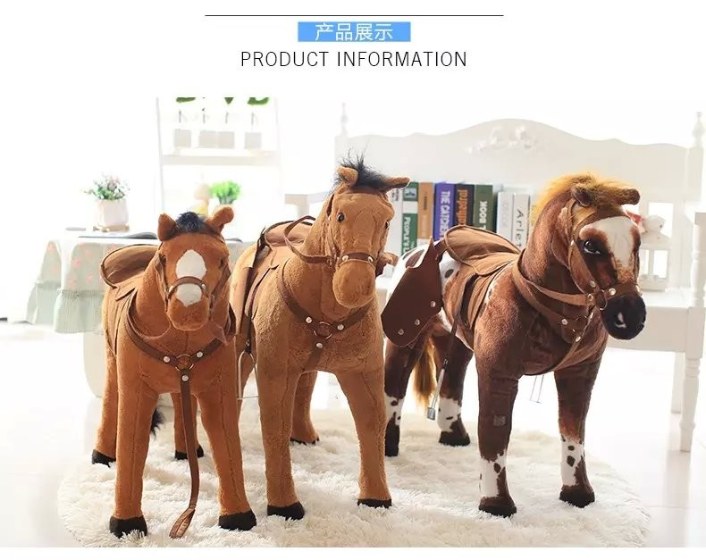 life size 45'' Soft Stuffed Simulation Animal Plush standing Horse Toy Can be Rided for child(CE/EN71)