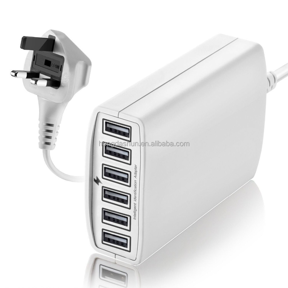 smart power IQ portable universal charger, desk 6-port 3pin uk usb plugs multi port charger station for 6 tablets