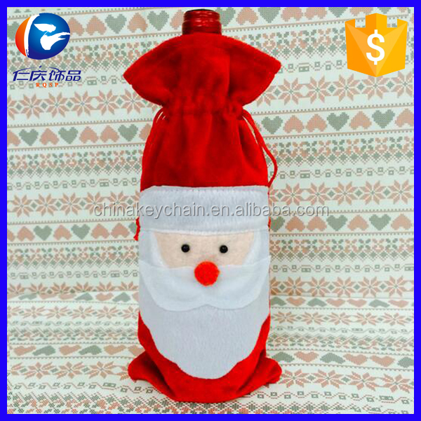 Christmas decorating santa claus wine bottle cover