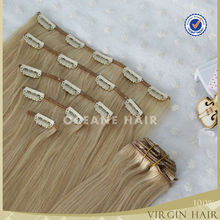 220g 7 pcs full head malaysian hair lace clip in hair extensions