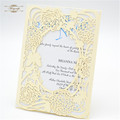 Islamic wedding favors christmas europe butterfly and flower design ivory laser cut wedding invitation