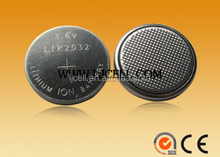 li-ion LIR2032 rechargeable button cell battery 3.6v