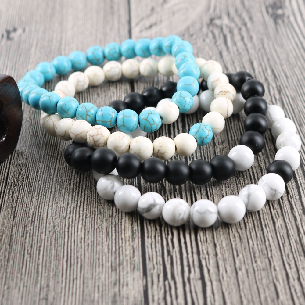 8 mm Black Onyx Howlite Turquoise Stone Beads Bracelets for Men's Jewelry Women's Fashion 1 Pair 2 pcs