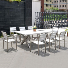 Garden poly wood restaurant table and chair furniture patio modern outdoor dining set