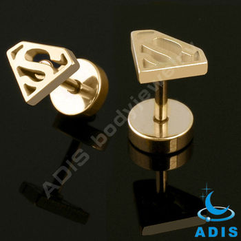 Titanium Gold Plated Stainless Steel Superman Fake Plugs Ear Tunnel