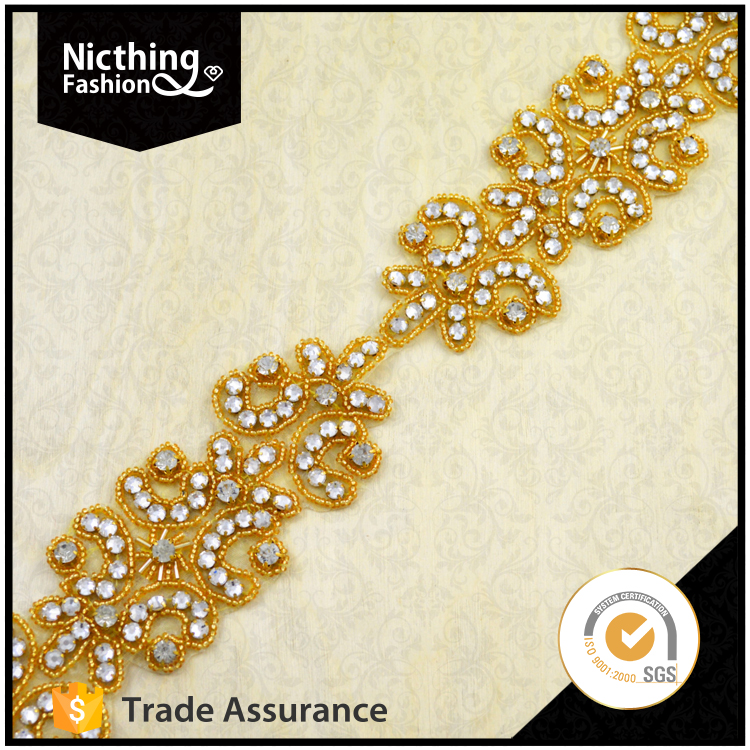 Golden color elegant design colorful rhinestone applique for sash design NRA127