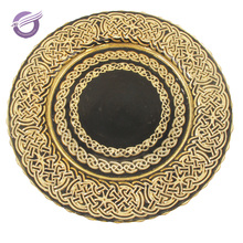 PZ41320 Black and gold antique luxury charger plates wholesale