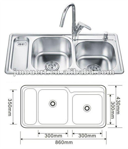 Of 8643a doble taz n de acero inoxidable fregadero de la for Dimensiones fregadero