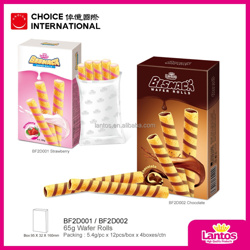 Lantos Brand 65g Chocolate and Strawberry flavored Wafer Roll