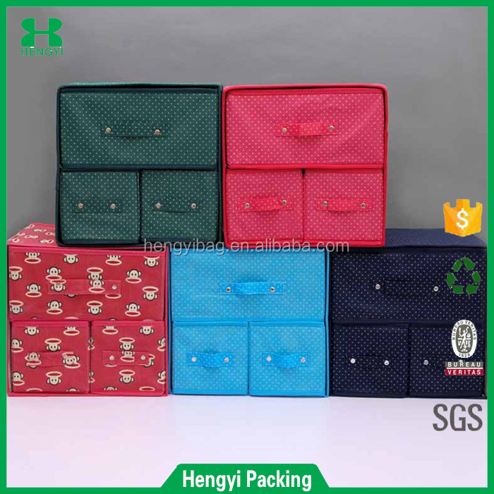 three drawers Popular Household Nonwoven Folding Storage Box
