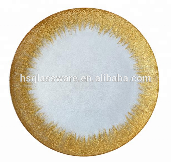 Gold Charger Wedding Rim Wholesale Clear Window Price Under Glass <strong>Plate</strong>