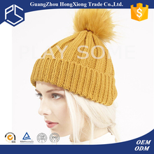 Professional factory manufacture warm yellow knit hat