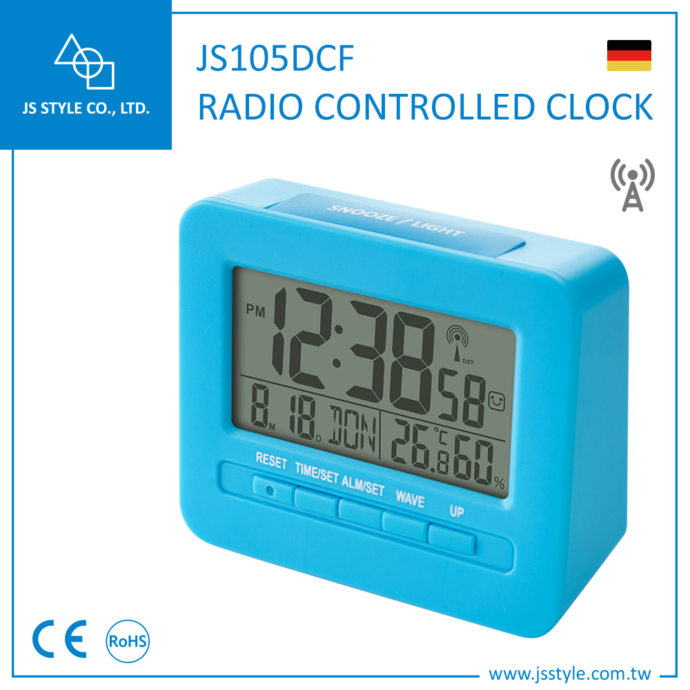CE Rohs Certification Multi-functional Germany Desk DCF Alarm Clock With LED Backlight