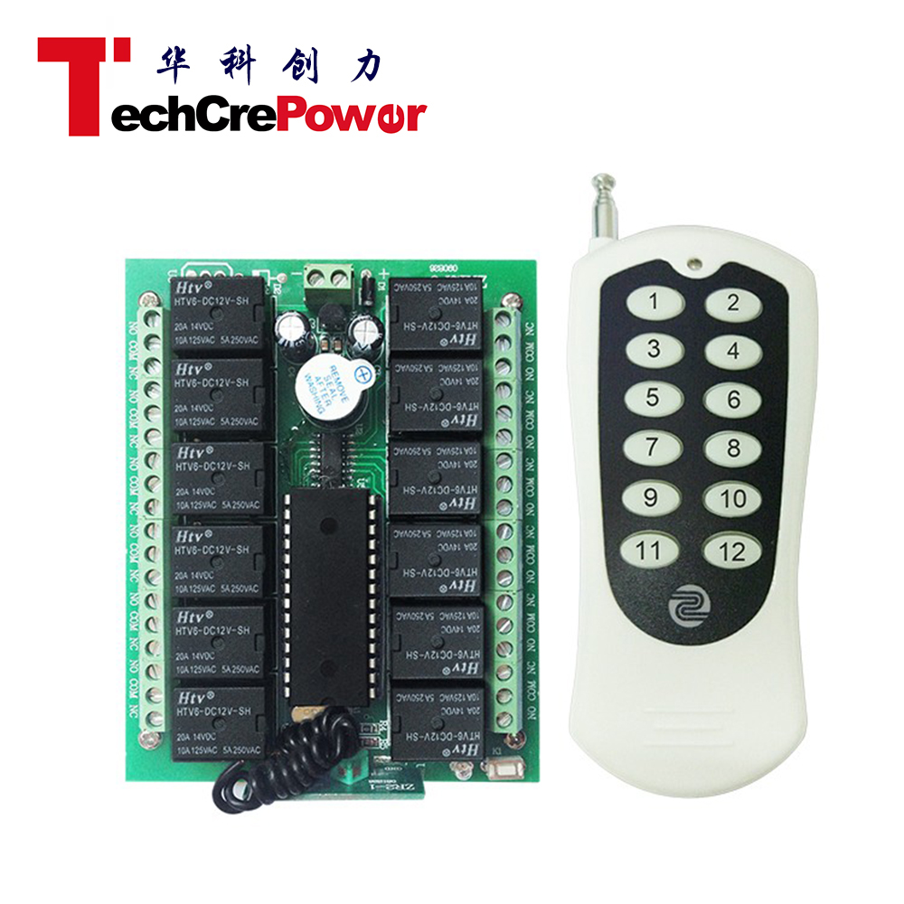 Receiver Module 12V 2-Channel 433M 2-Button 800m Remote Control Switch