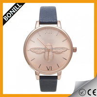 Hot sale fashion rose gold case bird dial leather watch
