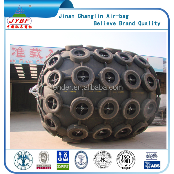ChingLin pneumatic rubber fender with Tire - chain net