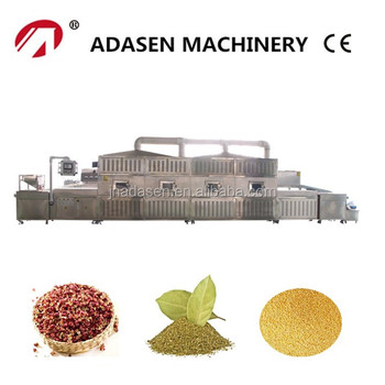 Continuous microwave spice sterilization and drying machine