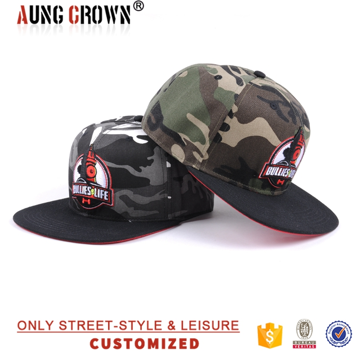Custom adjustable high profile 6 panel camo snapback hat