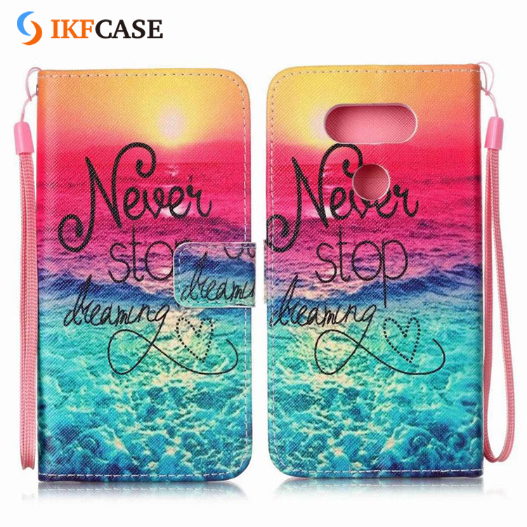 China Supplier Custom Printed OEM Leather Flip Back Cover Case for LG G4