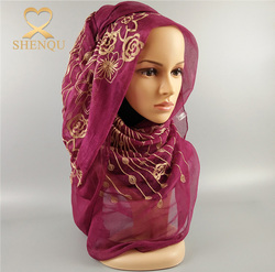 Beautiful Chiffon Georgette Hijab Polyester Georgette Scarf Imitated Silk Scarves And Shawls Floral Hijab