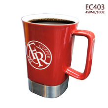 Promotion custom printing logo stainless steel base white ceramic luxury mug with handle