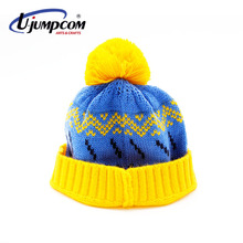 Yellow and Blue Funny Winter Jacquard Beanie Hats for Adult