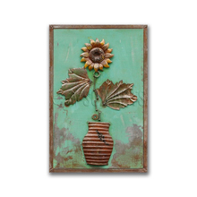 Rustic 3D Framed Metal Flower Wall Art for Garden Decor