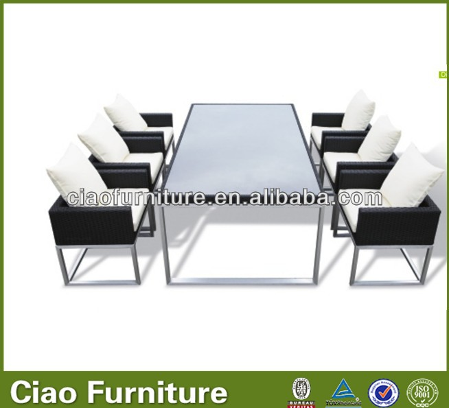Wicker dining room furniture modern glass dining table and chair for events