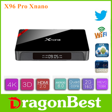 X96 Pro 1xnano S905X 2G 16G android set top box Digital tv 2.4g wifi Android 6.0 TV caja